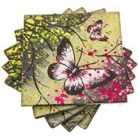 Set 4 Pink Green Forest Glass Drink Coasters